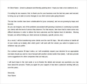 letters templates free download service termination letter