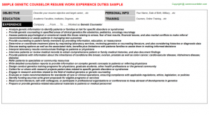 CV letter templates free genetic counselor