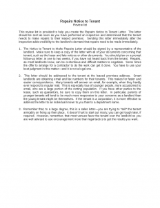 letter to landlords repairs notice to tenant