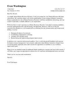 letter to recruiter best recruiting and employment cover letter examples livecareer for sample recruitment letter