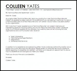 letter to recruiter technical recruiter