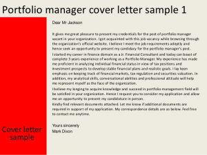 letters of application examples portfolio manager cover letter