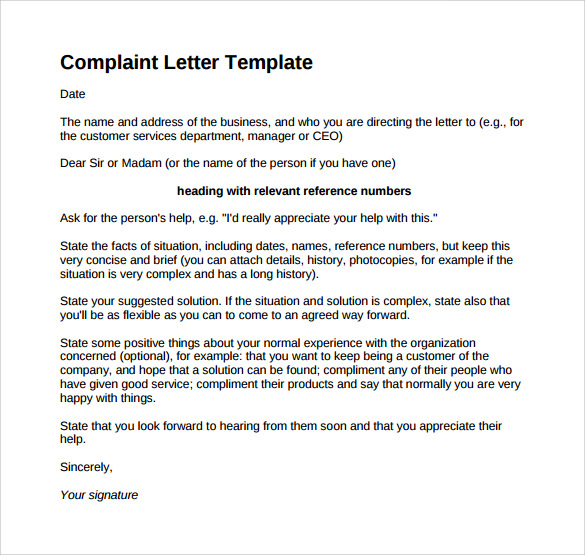 letters of complaint samples