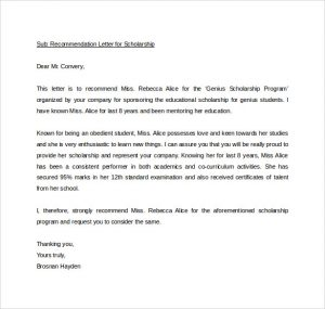 letters of recommendation examples sample personal letters of recommendation for scholarship