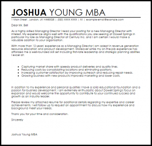 letters of recommendation for a job managing director