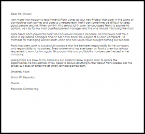 letters of recommendation for a job project manager recommendation letter