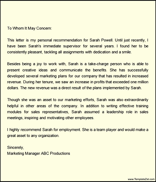 letters of recommendation for a job