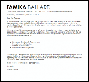 letters of recommendation for a job training specialist