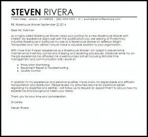 letters of recommendation for a job warehouse worker