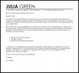 letters of recommendation for jobs restaurant server