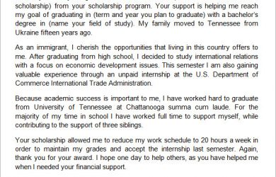 letters of recommendation for scholarships college scholarship thank you letter sample