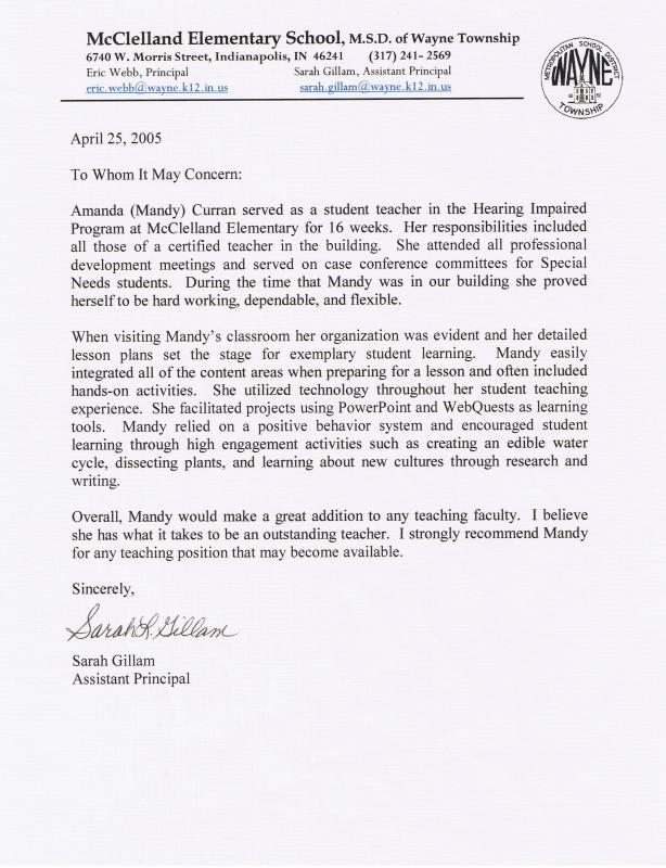 letters of recommendation for student teacher