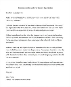 letters of recommendation for student teacher recommendation letter for student organization
