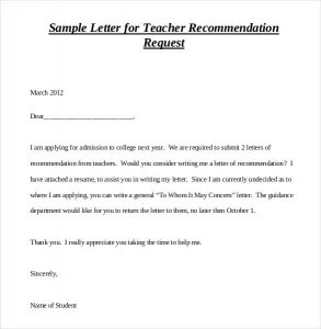 letters of recommendation for student teachers sample letter for teacher recommendation request