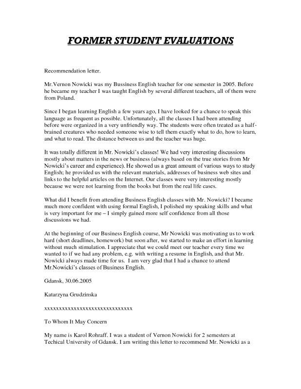 letters of recommendation for student teachers