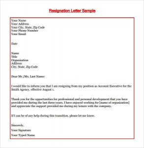 letters of termination of employment resignation letter sample
