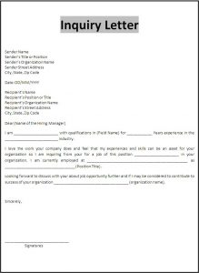 letters template free inquiry letter template