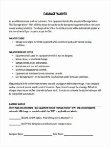 liability waiver form pdf damage waiver form in pdf