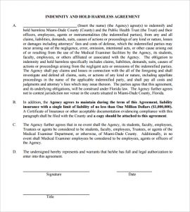 liability waiver form pdf hold harmless agreement sample