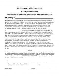 liability waiver form pdf tsa waiver and release of liability form