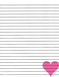 lined paper printable lined paper for writing pink heart