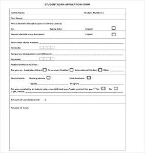 loan application format sample student loan application form download