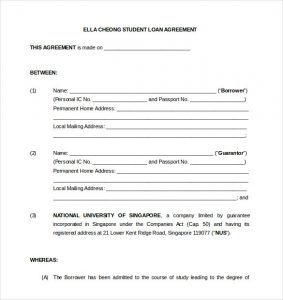loan contract template student loan agreement template