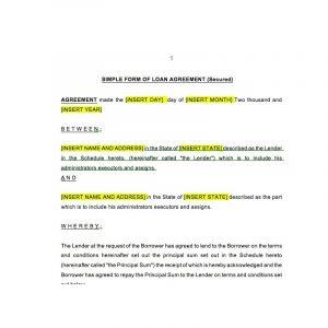 loan document template loan agreement secured