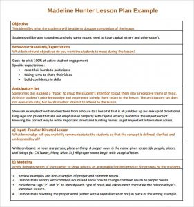 madeline hunter lesson plan template sample madeline hunter lesson plan example
