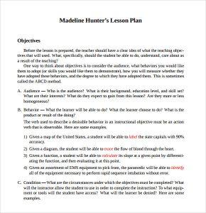madeline hunter lesson plan template sample madeline hunter lesson plan free