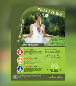 magazine advertisement template beautiful yoga psd flyer
