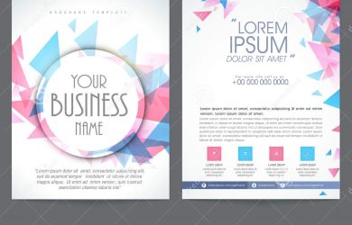 magazine advertisement template brochure flyer design business two pages presentation colorful abstract web icons place holder content