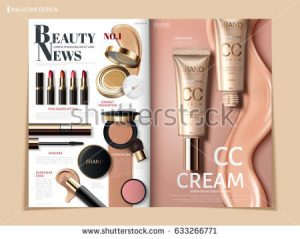 magazine advertisement template stock vector creamy color cosmetic magazine or catalog template design for commercial uses d illustration