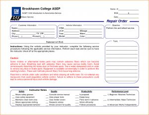 maintenance work order template repair order template