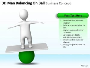 marketing business plan d man balancing on ball business concept ppt graphics icons slide