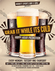marketing flyer templates beer promotion happy hour flyer template
