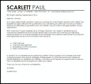 marketing manager cover letter project assistant