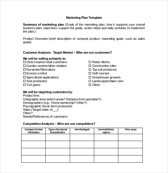 marketing plan template free
