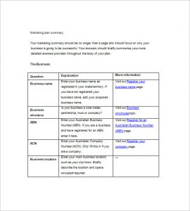 marketing plan template free simple marketing plan template word