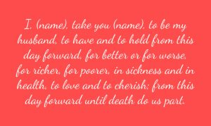 marriage ceremony words wedding vow