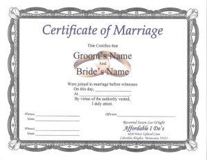 marriage certificate sample sample certificate