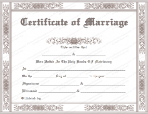 marriage certificate template classic marriage certificate template