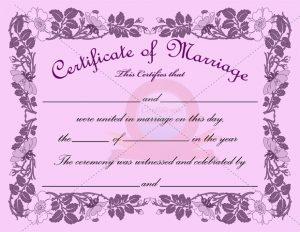 marriage certificate template marriage certificate purple border