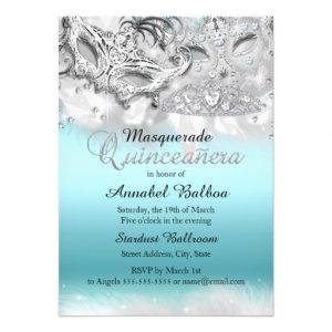 masquerade invitations template free teal silver sparkle masquerade quinceanera invite rdddfadbdafeaae zkrqe
