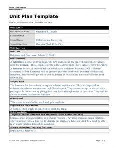 math lesson plan template unit plan math