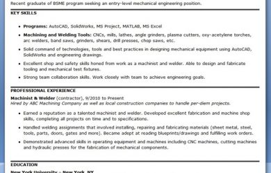 mechanical engineering resume mechanical engineering resume template entry level