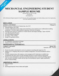 mechanical engineering resume mechanical engineering student sample resume