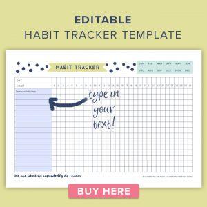 media planner template editable habit tracker template
