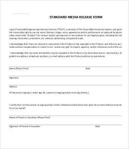 media release form standard media release form template