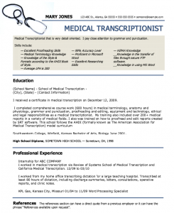 medical assistant resumes medical transcriptionist sample resume with regard to ucwords